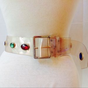 1980's Clear Acrylic Multi Gemstones SaddleBelt